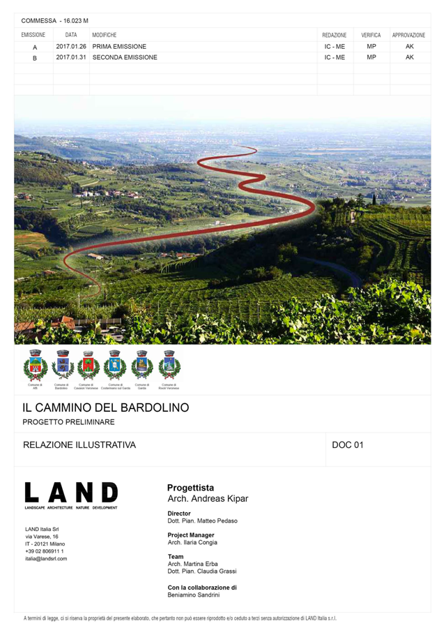 Progetto Preliminare - Relazione Illustrativa. | Il cammino del Bardolino